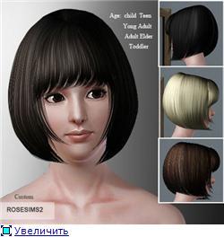 Красивая короткая женская прическа для Sims 3