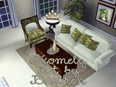 Кресло, диван, камин, столик, мелкие предметы