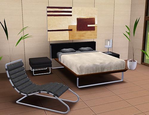 Кровать, кресло, растения, Живопись